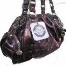 Kathy Van Zeeland Croc Size Satchel Purple Purse Bag