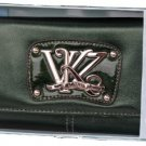 Kathy Van Zeeland Bottle Green Monogram Clutch Wallet