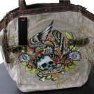 MARC ECKO BEIGE CUT SEW TATTOO SKULL HANDBAG PURSE NEW