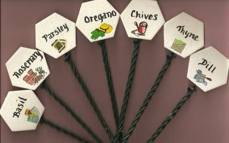 Lot of 7 Herb Garden Markers - Stakes