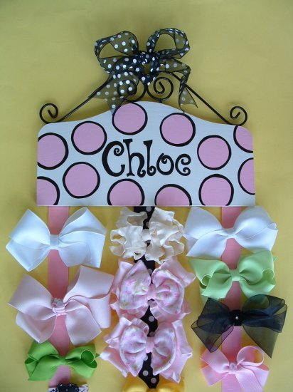 Hair Bow Holder - Chloe - Black and Pink