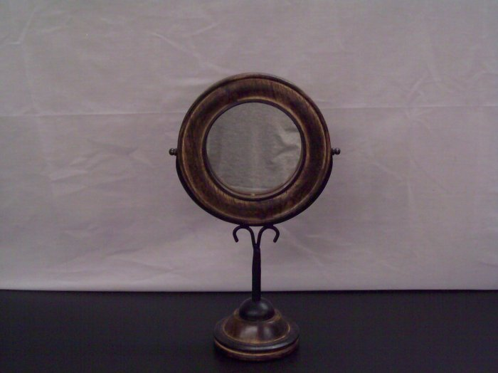 Carved Mango Wood and Wrought Iron Dresser Mirror