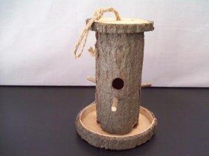 Hollow Log Birdhouse Birdfeeder