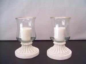 Two Gold-Edged Hurricane Candle Lamps