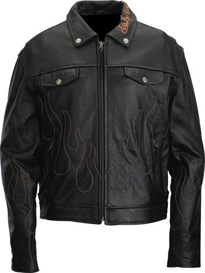 Evel Knievel Genuine Leather Mens Flame Jacket