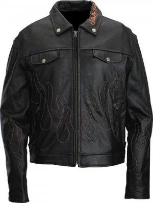 Evel Knievel Genuine Leather Mens Flame Jacket