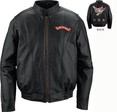 Genuine Leather Motorcycle Jacket with Patches
