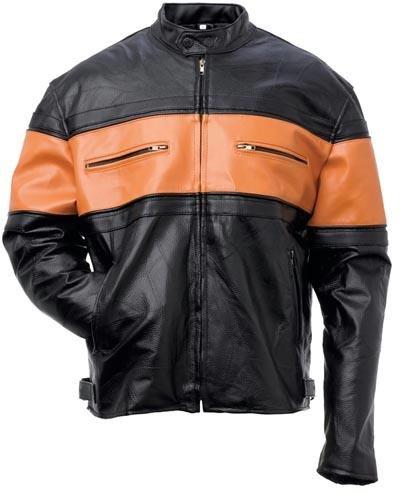 Orange Striped Men's Leather Jacket