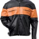 Orange Striped Men's Leather Jacket