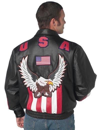 USA/Eagle Solid Genuine Leather Bomber Jacket