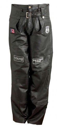 Genuine Leather Motorcycle Chaps W/ Patches