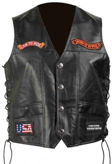 Genuine Solid Leather Motorcycle Vest.