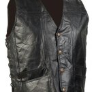 Genuine Leather Biker Vest Eagle Patch