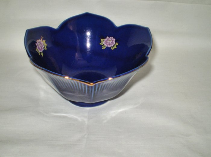 Royal Blue Lotus Flower Ceramic Bowl, Small Size, Japan