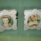 "60's Ceramic Pair Photo Picture Frames fr. Japan, 3""X5"""