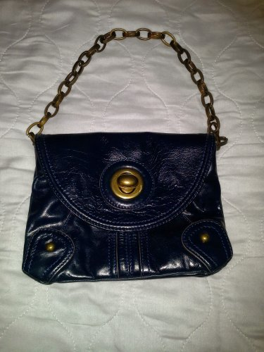 90s Tracy Reese Small Navy Blue Purse with Metal Chain Strap