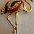 "90s Flamingo Bird Brooch Pin, 2 3/4"" Tall"