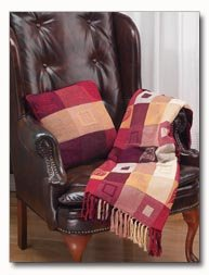 Maxam Red Pattern Pillow and Blanket