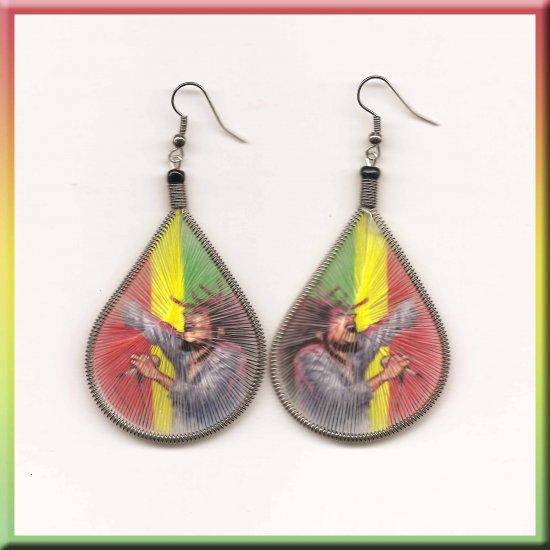 Bob Marley Thread Earrings Rasta Reggae Rastafari Fyah