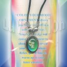 LOVE Oval Mood Pendant Necklace Choker Color Change UV Glow Retro Hippie Chic