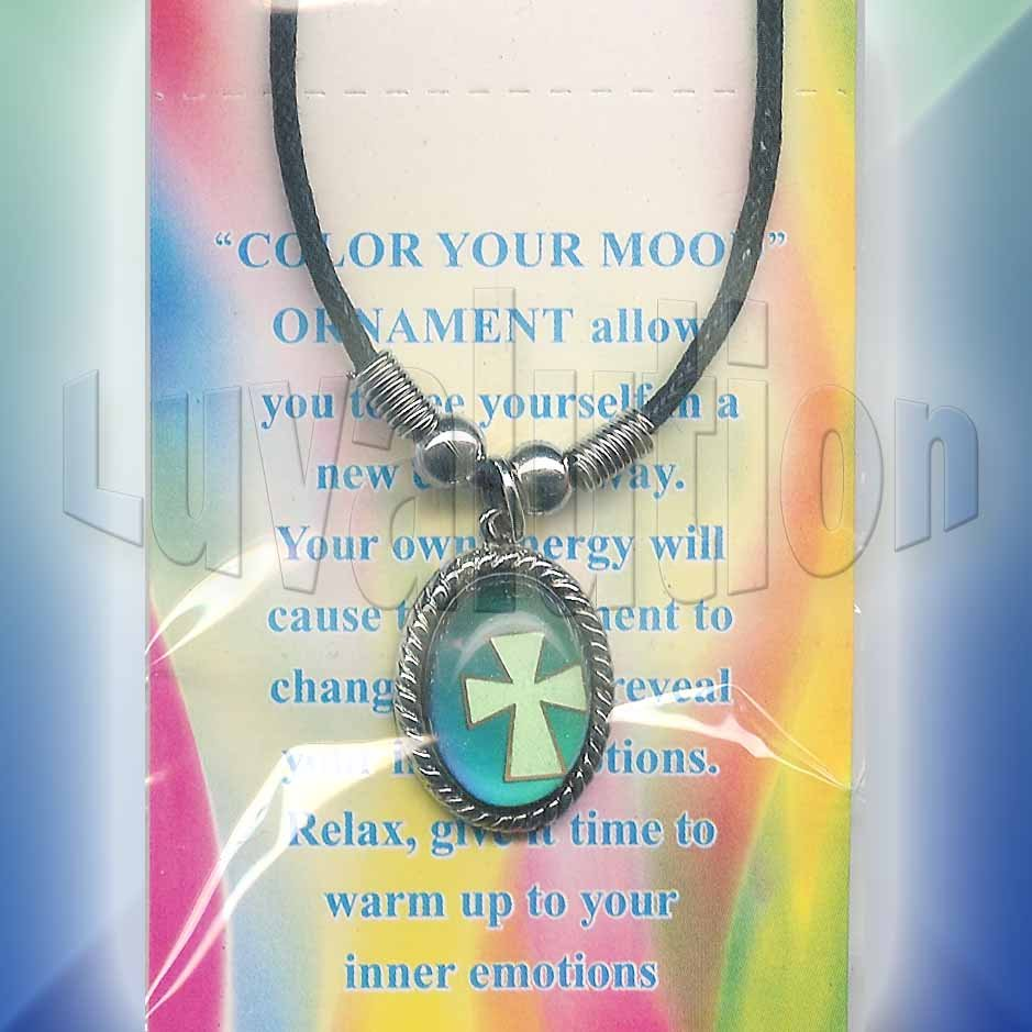 Cross Twisted Oval Mood Pendant Necklace Color Changing UV Glow Biker Punk Rock Goth Retro Chic