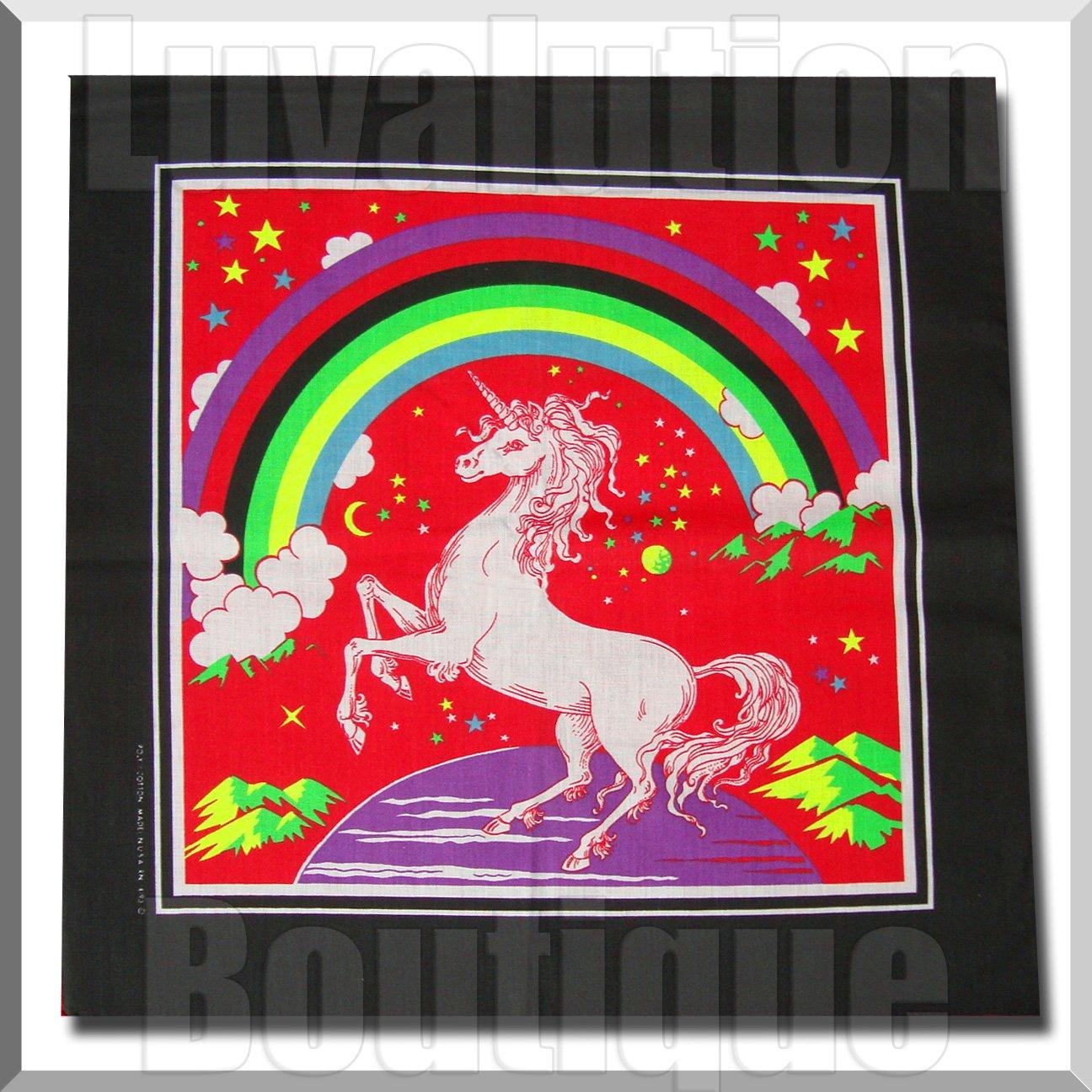 """Unicorn Rainbow Bandana Stars Planets Large 22"""" Mythical Fantasy Funky"""