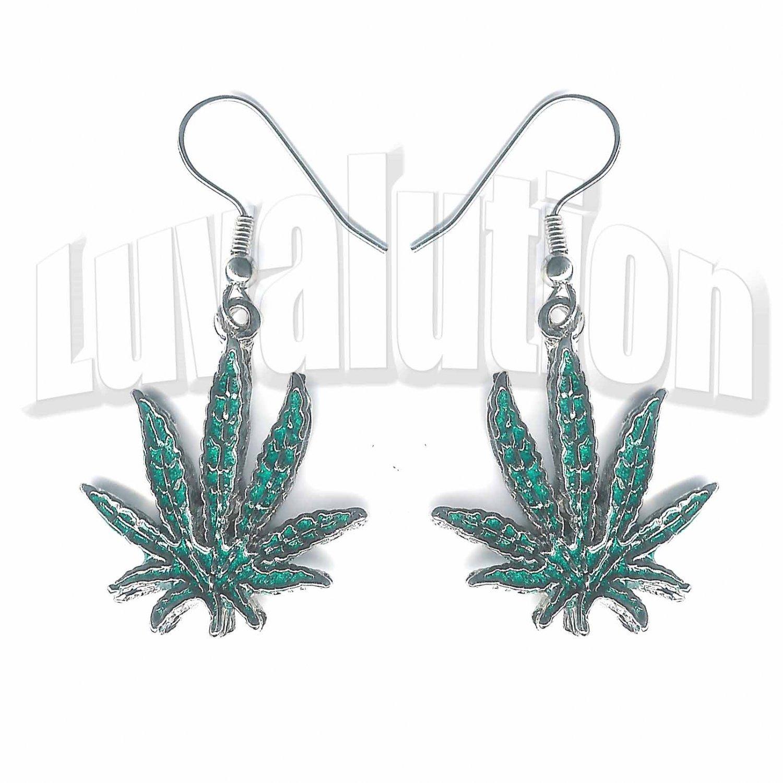 Cannabis Sativa Pot Leaf Dangle Earrings 420 Marijuana Weed 420 Ganja Sensi Pierced
