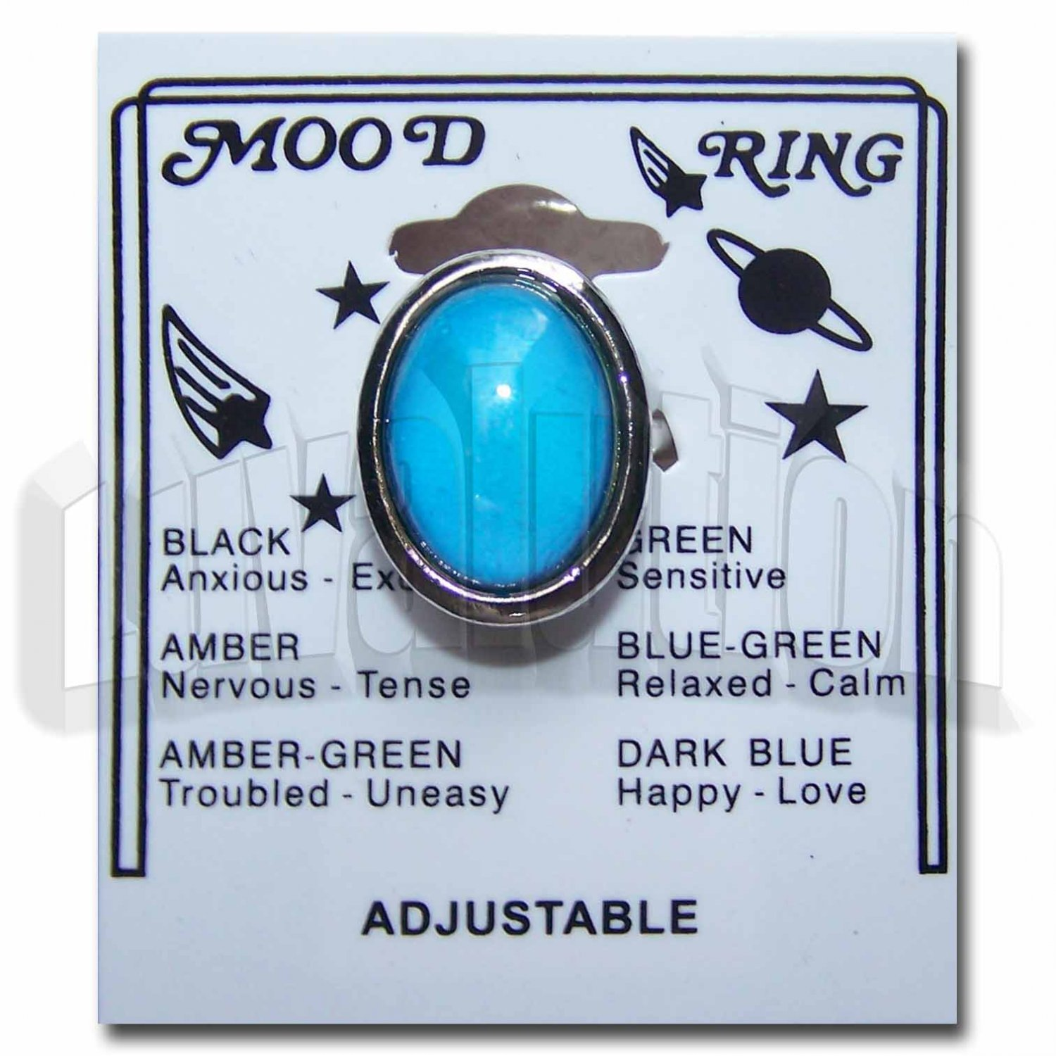 Adjustable Chunky Oval Mood Ring Retro 70s Hippie Chic Carded Color Change Chart