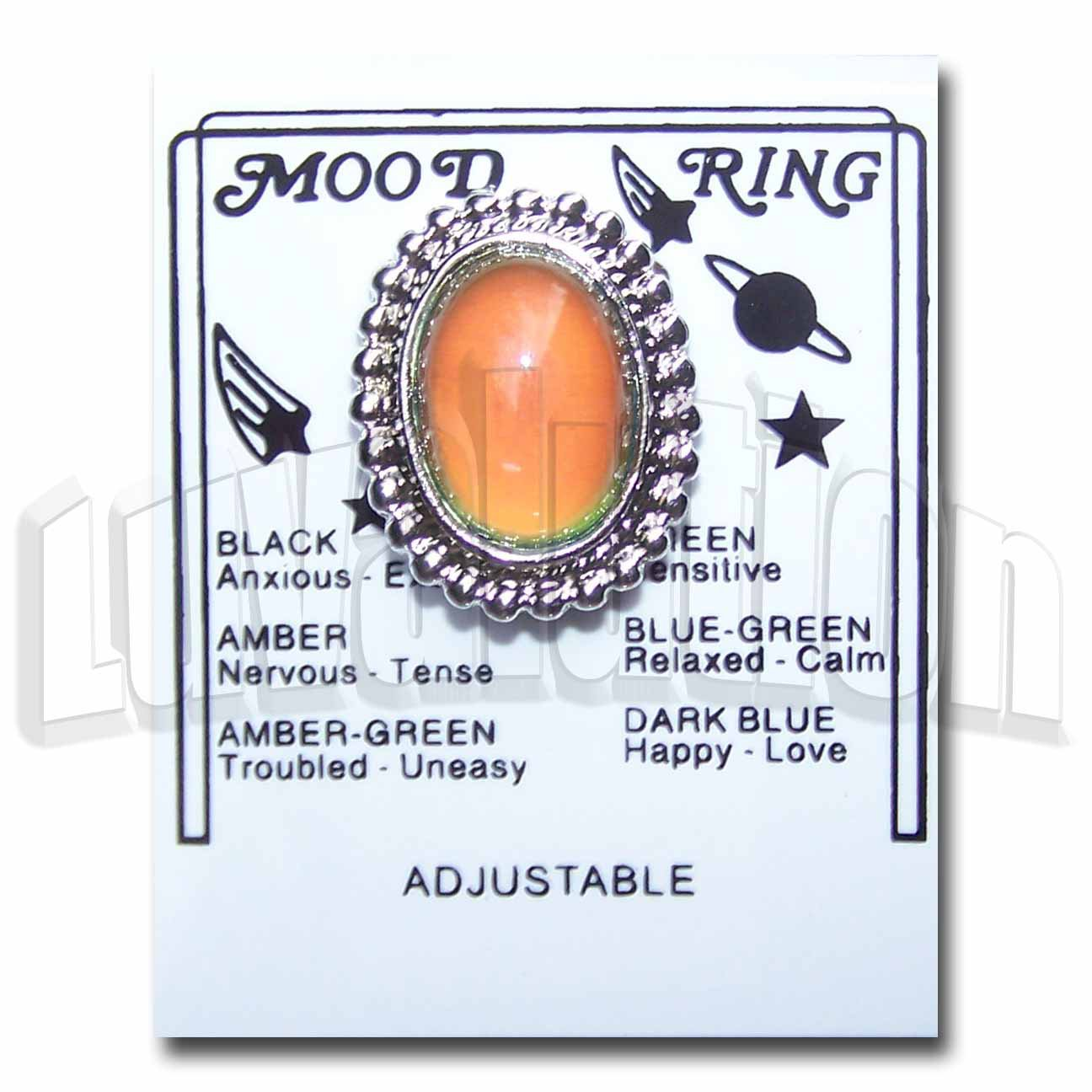 Adjustable Mood Ring Chunky Ornate Oval Cocktail Retro Hippie Chic Carded Chart