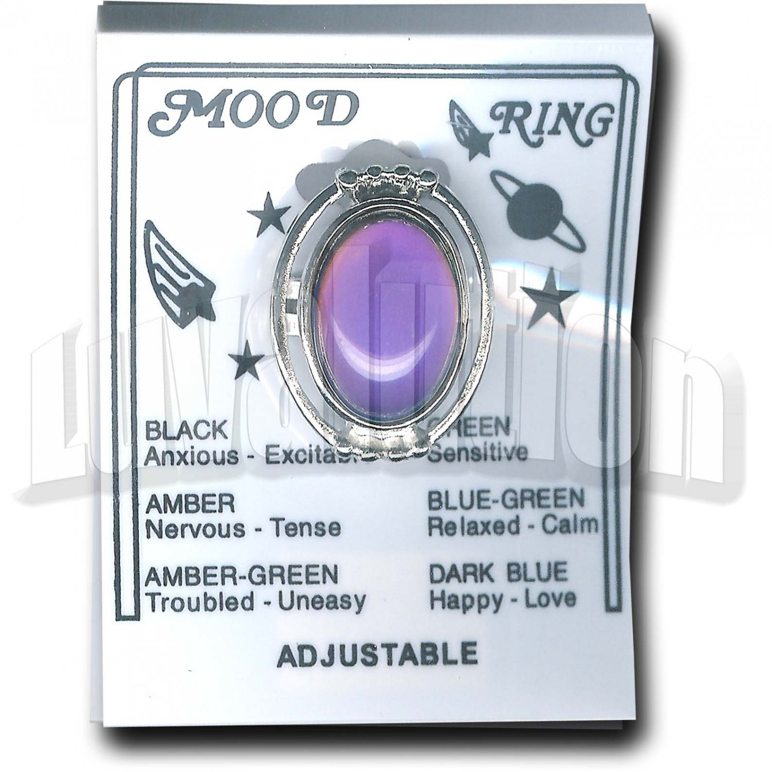 Adjustable Mood Ring Ornate Chunky Oval Cocktail Retro Hippie Chic Chunky Carded Chart