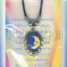 Retro Chic Moon Star Mood Necklace Choker Oval UV Glow Pendant Color Changing Chart