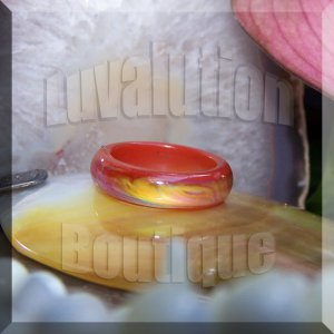 Red Agate Mood Ring Band Size 7 Color Changing Genuine Gemstone Jewelry Gift Box