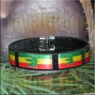 Black Rasta Pot Leaf Bracelet Cuff Cannabis Marijuana 420 Weed Kush Adjustable