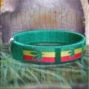 Green Rasta Pot Leaf Bracelet Cuff Cannabis Marijuana 420 Weed Kush Adjustable