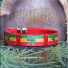Red Rasta Pot Leaf Bracelet Cuff Cannabis Marijuana 420 Weed Kush Adjustable