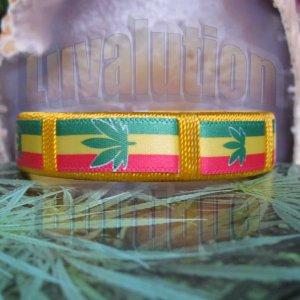 Yellow Rasta Pot Leaf Bracelet Cuff Cannabis Marijuana 420 Weed Kush Adjustable