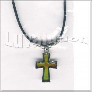 Cross Mood Pendant Necklace Choker Color Changing Christian Religious Faith Biker Punk Goth Rocker