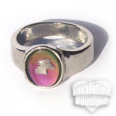 Horse Mood Ring Size 7 Retro Chic Vivid Color Changing Chart Equine Pony Western