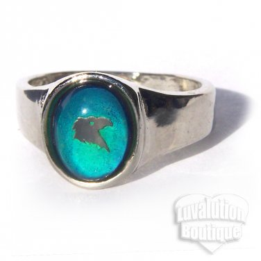 Eagle Head Mood Ring Size 5 Retro Chic Color Changing Chart Biker Goth Punk Rocker Patriotic