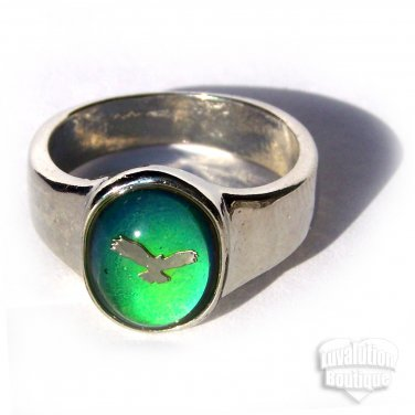 Flying Eagle Mood Ring Size 5 Retro Chic Color Changing Chart Biker Goth Punk Rocker Patriotic