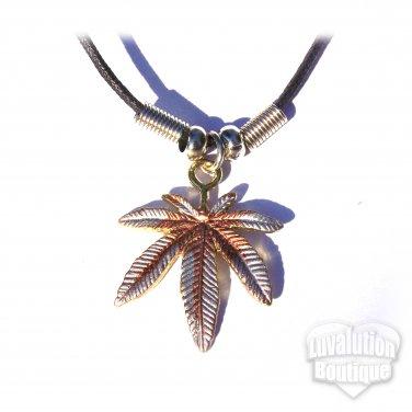 Cannabis Pot Leaf Tri-Tone Pendant Necklace Marijuana Weed Ganja 420 Sensimilla Kush