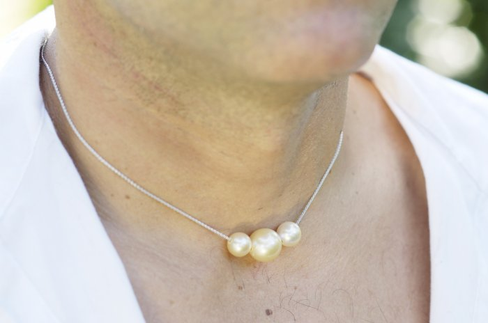Men's Indonsian Champagne Pearl Choker Platinum Chain