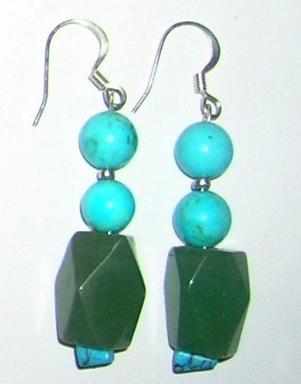 Turquoise with green Aventurin earrings