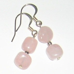 Rose Quarts small earrings