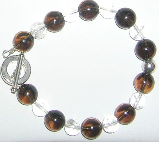 smoky and clear Quarts bracelet