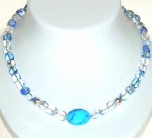 Blue Quartz with Turquoise Howalite center piece.