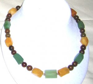 peach and green aventurin with brown and green jade necklace