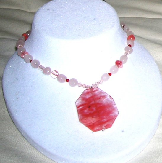 Rose and Cherry quarts necklace with pendant