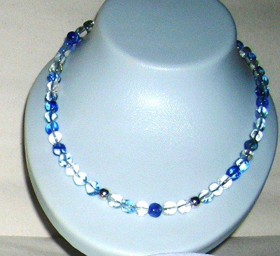 Blue Quartz with two small silver balls