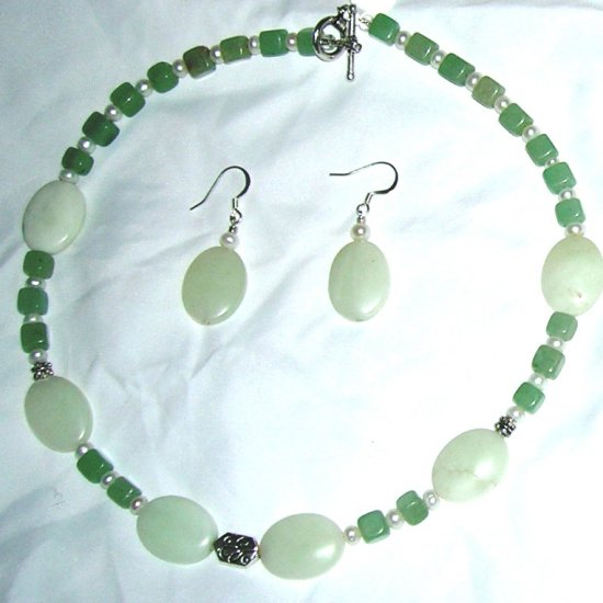 New Jade with freshwater pearls
